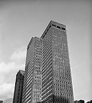 Pittsburgh PA:  The new Alcoa Building in 1953.  Originally the headquarters for the Aluminum Company of America (ALCOA), the unique aluminum walls of the building are 1/8 inch thick, which gives the building a very light weight and economical design. It was the first skyscraper with an all-aluminum facade