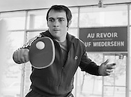 April 1970, Concord, New York State, USA. French boxer Marcel Cerdan Jr. takes a break from training by playing table tennis at his training facility in Concord, New York. Cerdan will be fighting Donato Paduano at Madison Square Garden on May 11th. Image by © JP Laffont