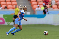 Houston, TX - Saturday April 15, 2017: Samantha Johnson chases after a loose ball during a regular season National Women's Soccer League (NWSL) match between the Houston Dash and the Chicago Red Stars at BBVA Compass Stadium.