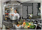 Tearsheet from Good Food magazine showing portrait photograph of Tai chef Tukata Bird in her garden kitchen in the village of Ryhall, Rutland, near Stamford, Lincolnshire