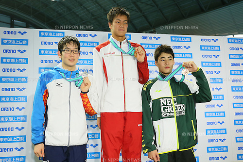 (L to R) <br /> Koki Tanaka, <br /> Juran Mizohata, <br /> Shuya Imoto, <br /> MARCH 29, 2015 - Swimming : <br /> The 37th JOC Junior Olympic Cup <br /> Men's 200m Freestyle <br /> 15-16 years old award ceremony <br /> at Tatsumi International Swimming Pool, Tokyo, Japan. <br /> (Photo by YUTAKA/AFLO SPORT)