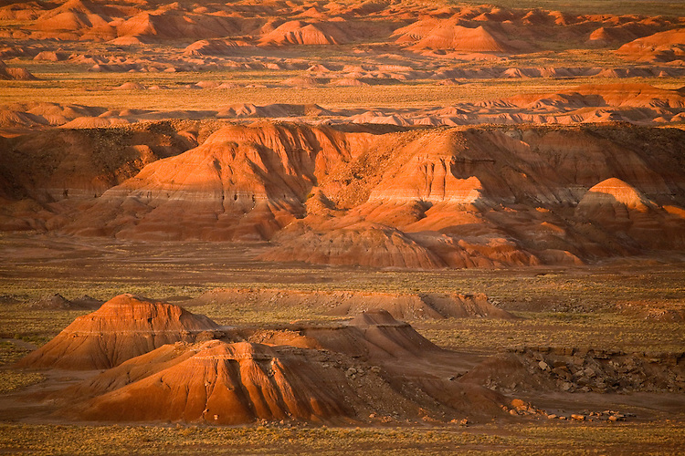 View of the badlands within the Painted Desert from Chinde Point in Petrified Forest National Park, Arizona