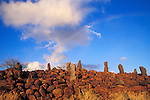 Evening light on a navigational heiau (ancient temple used for navigating to the other Hawaiian Islands and Tahiti) at Mahukona, North Kohala, The Big Island, Hawaii