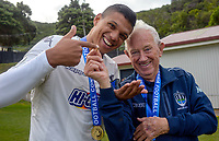 Ryan de Vries and Arther Egan after the Oceania Football Championship final (second leg) football match between Team Wellington and Auckland City FC at David Farrington Park in Wellington, New Zealand on Sunday, 7 May 2017. Photo: Mike Moran / lintottphoto.co.nz