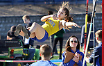 SEYMOUR CT. 18 April 2017-041817SV04-Ashleigh Perisco of Seymour attempts to pole vault over 6.0 feet during NVL track action at Seymour High in Seymour Tuesday.<br /> Steven Valenti Republican-American
