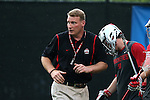 09 May 2015: Ohio State assistant coach Jamison Koesterer. The Duke University Blue Devils hosted the Ohio State University Buckeyes at Koskinen Stadium in Durham, North Carolina in a 2015 NCAA Division I Men's Lacrosse Tournament First Round match. Ohio State won the game 16-11.