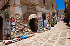 Tourist shops and Sicilian pottery Érice, Erice, Sicily stock photos.