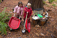 Geneve Timmerman, left, and Greyson Lamb, both 3, play during Fiddlehead Preschool, University of Washington