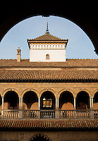 Detail of Patio de las Doncellas (Courtyard of the Maidens), Real Alcazar, Seville, Spain, pictured through an arch on December 26, 2006, in the morning. The upper storey of the Patio was built by Luis de Vega under the reign of Charles V, 1540-1572. The Real Alacazar was commissioned by Pedro I of Castile in 1364 to be built in the Mudejar style by Moorish craftsmen. The palace, built on the site of an earlier Moorish palace, is a stunning example of the style and a UNESCO World heritage site. Picture by Manuel Cohen.