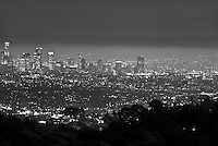 L.A. Skyline, los Angeles CA, Cityscape, Night, lit, lights on, Black and White, Calif. California