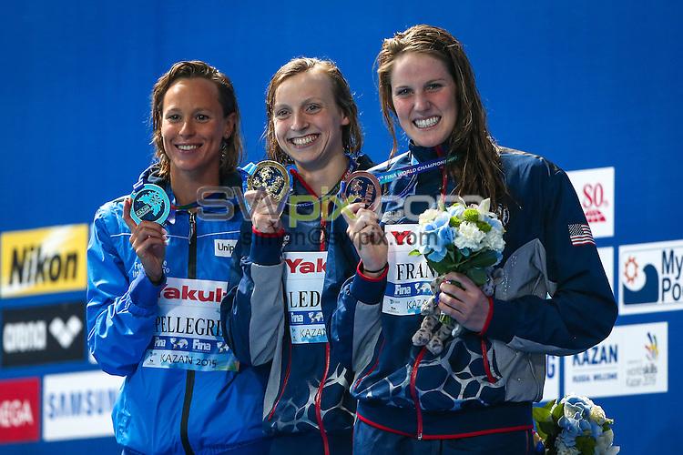 Picture by Alex Whitehead/SWpix.com - 05/08/2015 - Swimming - 16th FINA World Swimming Championships 2015 - Kazan Arena Stadium, Kazan, Russia - Gold - USA's Katie Ledecky, Silver - Italy's Federica Pellegrini, Bronze - USA's Missy Franklin.
