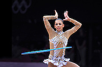 August 9, 2012; London, Great Britain; DARIA DMITRIEVA of Russia performs hoop routine on day 1 rhythmic gymnastics qualifications at 2012 London Olympics.