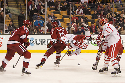 Luke Esposito (Harvard - 9), John Marino (Harvard - 12), Charlie McAvoy (BU - 7), Brandon Hickey (BU - 4), Wiley Sherman (Harvard - 25) - The Harvard University Crimson defeated the Boston University Terriers 6-3 (EN) to win the 2017 Beanpot on Monday, February 13, 2017, at TD Garden in Boston, Massachusetts.