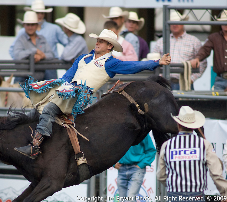 Ranked Number 1 in the world in the Bareback Riding event, Clint Cannon rides Witch Doctor at the Kitsap County Fair and Stampede  Thursday, Aug. 26, 2009. Cannon won the event with an 87.  Jim Bryant Photo. All Right Reserved. © 2009