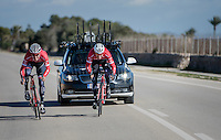 sprint lead-out training at the Team Trek-Segafredo training camp with a last relay by Jasper Stuyven (BEL/Trek-Segafredo) for Boy van Poppel (NED/Trek-Segafredo)<br /> <br /> january 2017, Mallorca/Spain