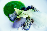 Oysters with purple potatoes,  olives, seafood foam and seaweed
