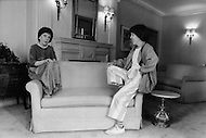 """Manhattan, New York - May 5, 1983. The everyday citizen Linda Hunt sits on the right of the sofa, contemplating the public persona of actress Linda Hunt on the left. She is one of the actresses who received the most attention at the 1983 Cannes Film Festival and was the co-star (with Mel Gibson) in Peter Weir's movie, """"The Year of Living Dangerously"""". Hunt (born April 2, 1945) is an American actress best known for her role as Henrietta Lange in the CBS series NCIS: Los Angeles. *This is a unique image, taken with a filter, without Photoshop montage."""