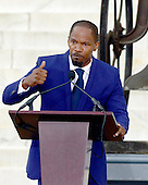 Jamie Foxx makes remarks at the Let Freedom Ring ceremony on the steps of the Lincoln Memorial to commemorate the 50th Anniversary of the March on Washington for Jobs and Freedom<br /> Credit: Ron Sachs / CNP