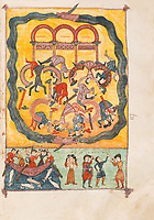 "Storia Apoc. XVIII,  1-20 : El Fuego de Babilonia y el duelo de los Reyes y Mercaderes (BABYLON FIRE AND MOURNING OF KINGS AND MERCHANTS). First edition of the ""Apocalypse, the Beatus held at El Burgo de Osma"", 11th century manuscript kept in the El Burgo de Osma Cathedral, on natural parchment made of animal skin published by Scriptorium SL in Valencia, Spain. © Scriptorium / Manuel Cohen"