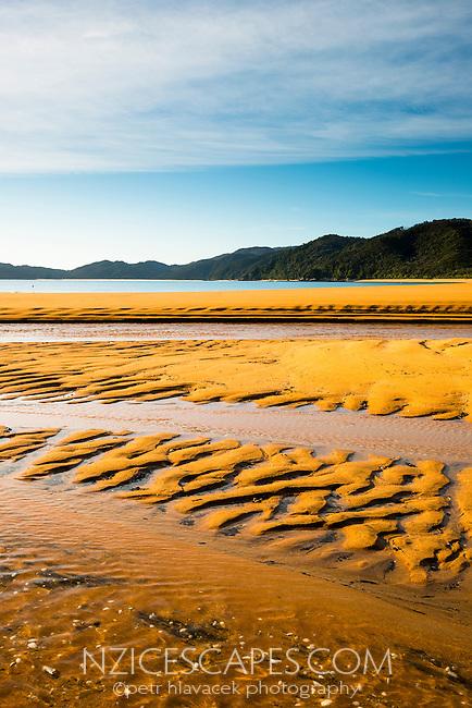 Orange coloured, quartz sand of pristine and empty beach in Totaranui on Abel Tasman Coastal Track, Abel Tasman National Park, Nelson Region, South Island, New Zealand