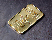 GOLD: 10g INGOT<br /> Pure Elemental Gold<br /> Credit Suisse. 999.9 assay on weight, numbered.