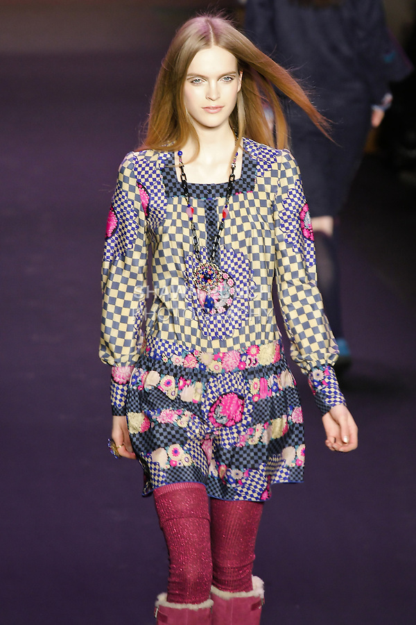 Mirte Maas walks runway in an outfit from the Anna Sui Fall 2011 collection, during Mercedes-Benz Fashion Week Fall 2011.