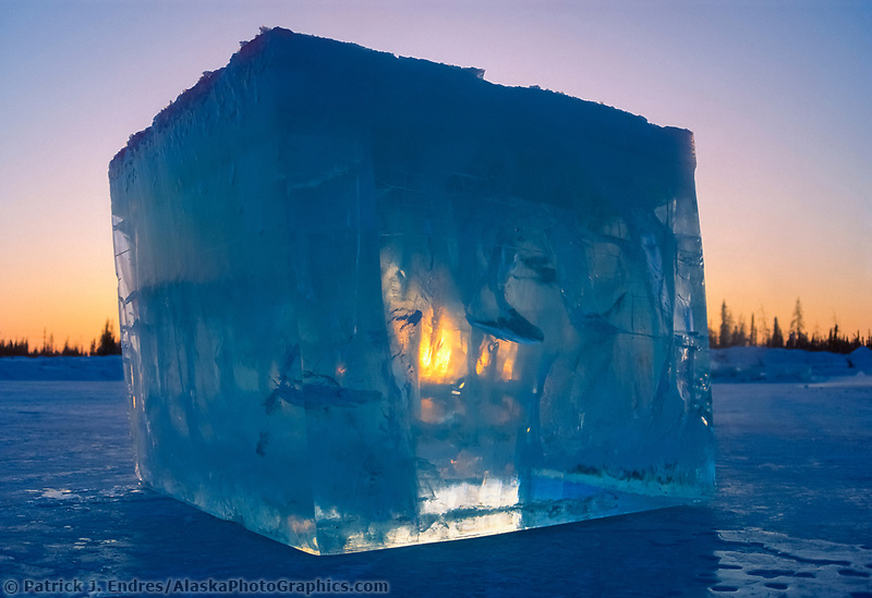 Large ice block from a Fairbanks pond cut by chainsaws, are used by sculptors in the World Ice Art Championships held each march in Fairbanks, Alaska