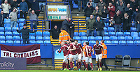 Northampton Town players celebrate after Michael Smith opened the scoring<br /> <br /> Photographer Alex Dodd/CameraSport<br /> <br /> The EFL Sky Bet League One - Bolton Wanderers v Northampton Town - Saturday 18th March 2017 - Macron Stadium - Bolton<br /> <br /> World Copyright &copy; 2017 CameraSport. All rights reserved. 43 Linden Ave. Countesthorpe. Leicester. England. LE8 5PG - Tel: +44 (0) 116 277 4147 - admin@camerasport.com - www.camerasport.com