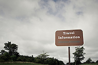Travel information sign on Blue Ridge Parkway in North carolinaempty of any information