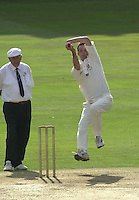 Photo Peter Spurrier.01/09/2002.Village Cricket Final - Lords.Elvaston C.C. vs Shipton-Under-Wychwood C.C..Elvaston's Andrew Barlett bowling from the pavilion end.