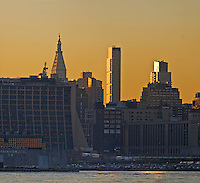 Manhattan, Hudson River, Sunrise, New York City, New York, USA