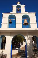 Bell tower entrance of the Greek Orthodox monastery of Kalamos, Ios, Cyclades Islands, Greece