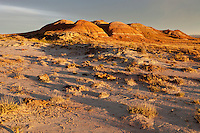 Colorful badlands at sunset in the Bighorn Basin of Wyoming