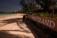 Turtle Island Sign at Dolphin Beach, Turtle Island, Yasawa Islands, Fiji