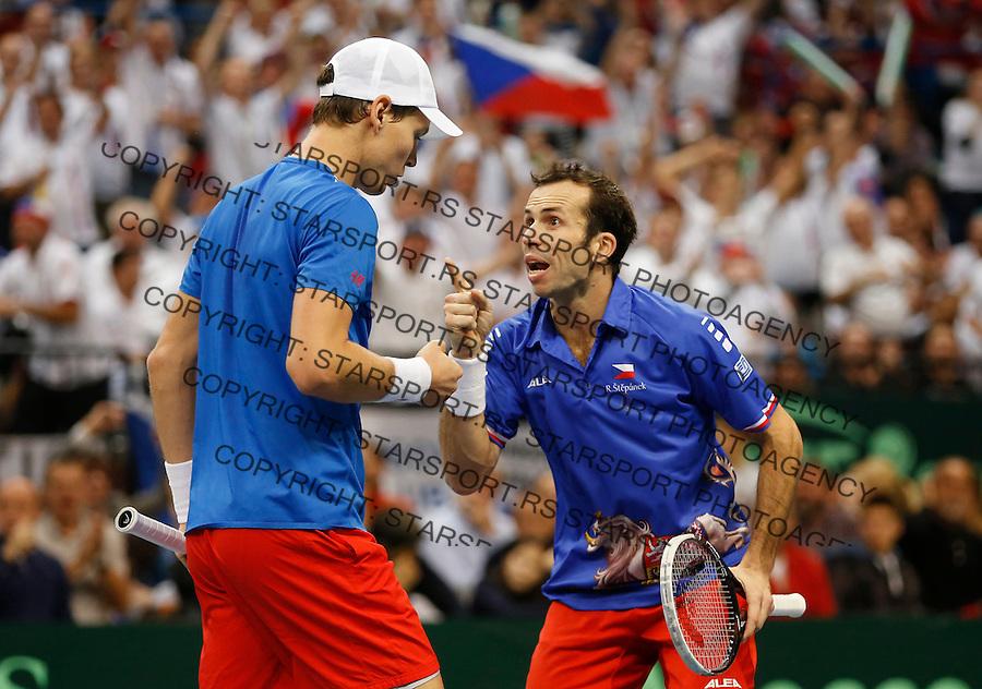 Tennis Tenis<br /> Davis Cup Final 2013<br /> Serbia v Czech Republic<br /> Nenad Zimonjic and Ilija Bozoljac v Radek Stepanek and Tomas Berdych<br /> Radek Stepanek and Tomas Berdych in action<br /> Beograd, 16.11.2013.<br /> foto: Srdjan Stevanovic/Starsportphoto &copy;
