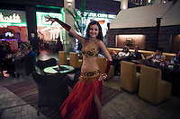 Moscow, Russia, 12/03/2011..A belly dancer in a Turkish restaurant in the Bazaar area of Vegas, the largest shopping mall in Russia, built by Crocus International, a real estate development company owned and run by Aras Agalarov and his son Emin.