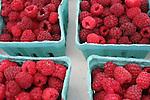 Fresh red raspberries at farmer's market