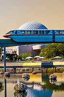 Monorail with Spaceship Earth (geosphere) in background, Epcot, Walt Disney World, Orlando, Florida USA