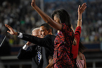 DENVER, CO - August 28, 2008:  Democratic Presidential nominee Barack Obama at the 2008 Democratic National Convention after delivering his acceptance speech on the final night the 2008 Democratic National Convention at Invesco Field in Denver, Colorado.