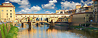Panoramic view of the medieval The Ponte Vecchio (&quot;Old Bridge&quot;) crossing the River Arno in the hiostoric centre of Florence, Italy, UNESCO World Heritage Site.