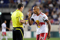 Thierry Henry (14) of the New York Red Bulls argues with referee Terry Vaughn. The New York Red Bulls  and the Vancouver Whitecaps played to a 1-1 tie during a Major League Soccer (MLS) match at Red Bull Arena in Harrison, NJ, on September 10, 2011.