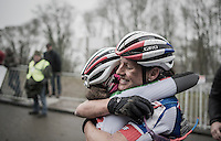 teammates (and the nr's 1&amp;2 on the podium:) Katerina Nash (CZE/Luna) &amp; Eva Lechner (ITA/Luna) hugging after the finish<br /> <br /> UCI Cyclocross World Cup Namur/Belgium 2016