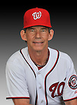 25 February 2011: Jim Lett, Bullpen Coach for the Washington Nationals, poses for his portrait on Photo Day at Space Coast Stadium in Viera, Florida. Mandatory Credit: Ed Wolfstein Photo