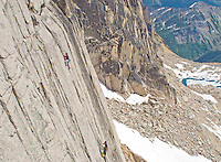Nick and Felicia climb Surprisingly Subsevere, 5.10-, 6 pitches, on Crescent Spire, Bugaboo Provincial Park, British Columbia, Canada
