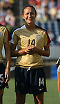14 July 2007: United States' Stephanie Lopez, wearing the brand new gold U.S. Womens World Cup jersey. The United States Women's National Team defeated their counterparts from Norway 1-0 at Rentschler Stadium in East Hartford, Connecticut in a women's international friendly soccer game.