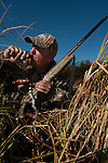 A waterfowl hunter in the field.