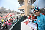Fabio Aru (ITA) Astana Pro Team at sign on before the the start of Stage 4 Yas Island Stage of the 2017 Abu Dhabi Tour, 143km with 26 laps of 5.5km of the Yas Marina Circuit, Abu Dhabi. 26th February 2017.<br /> Picture: ANSA/Claudio Peri | Newsfile<br /> <br /> <br /> All photos usage must carry mandatory copyright credit (&copy; Newsfile | ANSA)