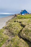 Coastal erosion along the shores of the Arctic ocean in Utqiagvik (Barrow), Alaska.