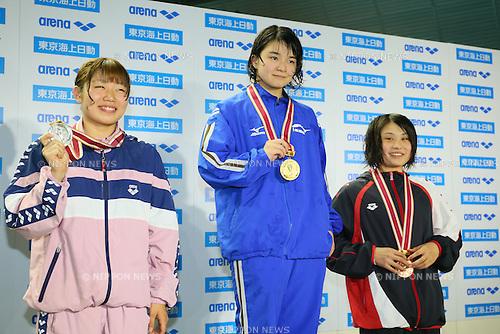 (L to R) <br /> Ayaka Tsuzuki, <br /> Konoha Shinada, <br /> Kanna Kiyota, <br /> MARCH 29, 2015 - Swimming : <br /> The 37th JOC Junior Olympic Cup <br /> Women's 50m Butterfly <br /> champion ship award ceremony <br /> at Tatsumi International Swimming Pool, Tokyo, Japan. <br /> (Photo by YUTAKA/AFLO SPORT)