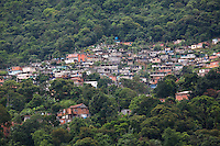 Favela built along the old construction road on the escarpment above Cubatão